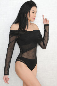 Strapless Mesh See-through Tight Stretch Bodysuit