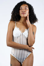 Load image into Gallery viewer, Eyelash lace sheer striped mesh teddy bodysuit
