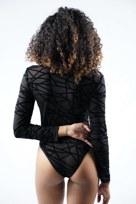 Sheer Mesh Geometric Bodysuit