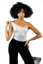 Load image into Gallery viewer, One Shoulder Metallic Skinny Bodysuit