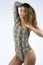 Load image into Gallery viewer, One shoulder Snakeskin Print Bodysuit