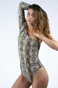 One shoulder Snakeskin Print Bodysuit