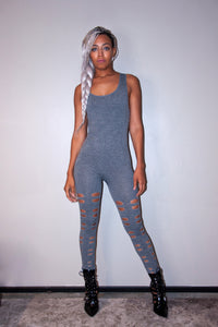 Basic Grey Form-fitting Unitard Bodysuit