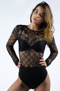 Sheer Eyelash Lace Long Sleeve Bodysuit (Reversible)