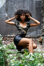 Load image into Gallery viewer, Short sleeve fitted Camo Print Bodysuit