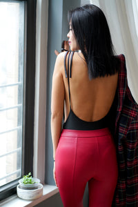 Open Back Bow Tied Cami Bodysuit