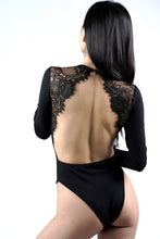 Load image into Gallery viewer, Eyelash Lace Inserts Open Back Bodysuit