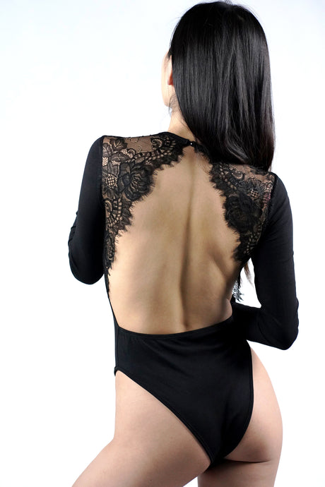 Eyelash Lace Inserts Open Back Bodysuit