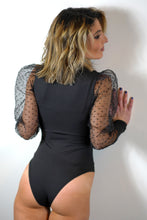 Load image into Gallery viewer, Patchwork Mesh See Through Sleeve Bodysuit