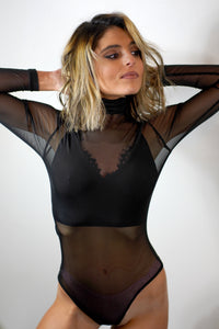 High Neck Fitted Mesh Bodysuit
