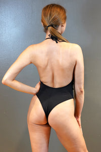 Plunging Backless Bodysuit With Embroidered Appliqué