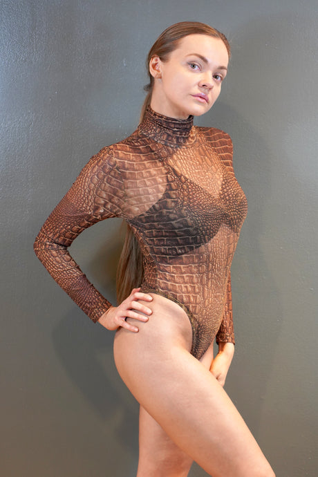 Crocodile Print Sheer Mesh Bodysuit