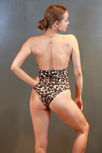 Load image into Gallery viewer, Chain Strap Open Back Draped Neck Leopard Bodysuit