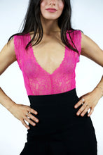 Load image into Gallery viewer, Pink Sexy Sheer Mesh Lace Bodysuit