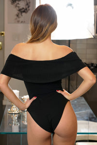 Foldover Off Shoulder Ribbed Bodysuit