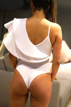 Load image into Gallery viewer, Solid Form-Fitting Asymmetrical One shoulder with Straps Bodysuit
