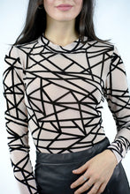Load image into Gallery viewer, Sheer Mesh Geometric Bodysuit