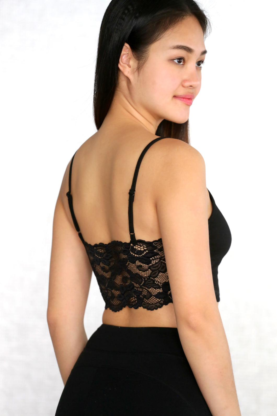 Lace Panel Crop Cami Top