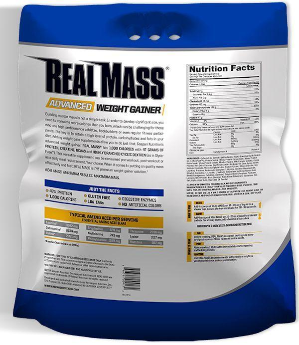 Gaspari Nutrition Protein Chocolate Gaspari Nutrition Real Mass Gaspari Nutrition 12lbs