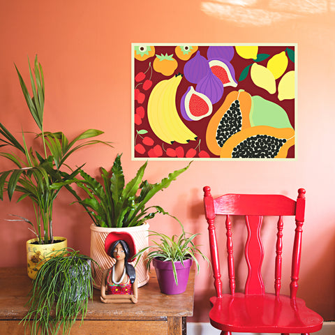 Papaya Party Art Print by Lucie Green