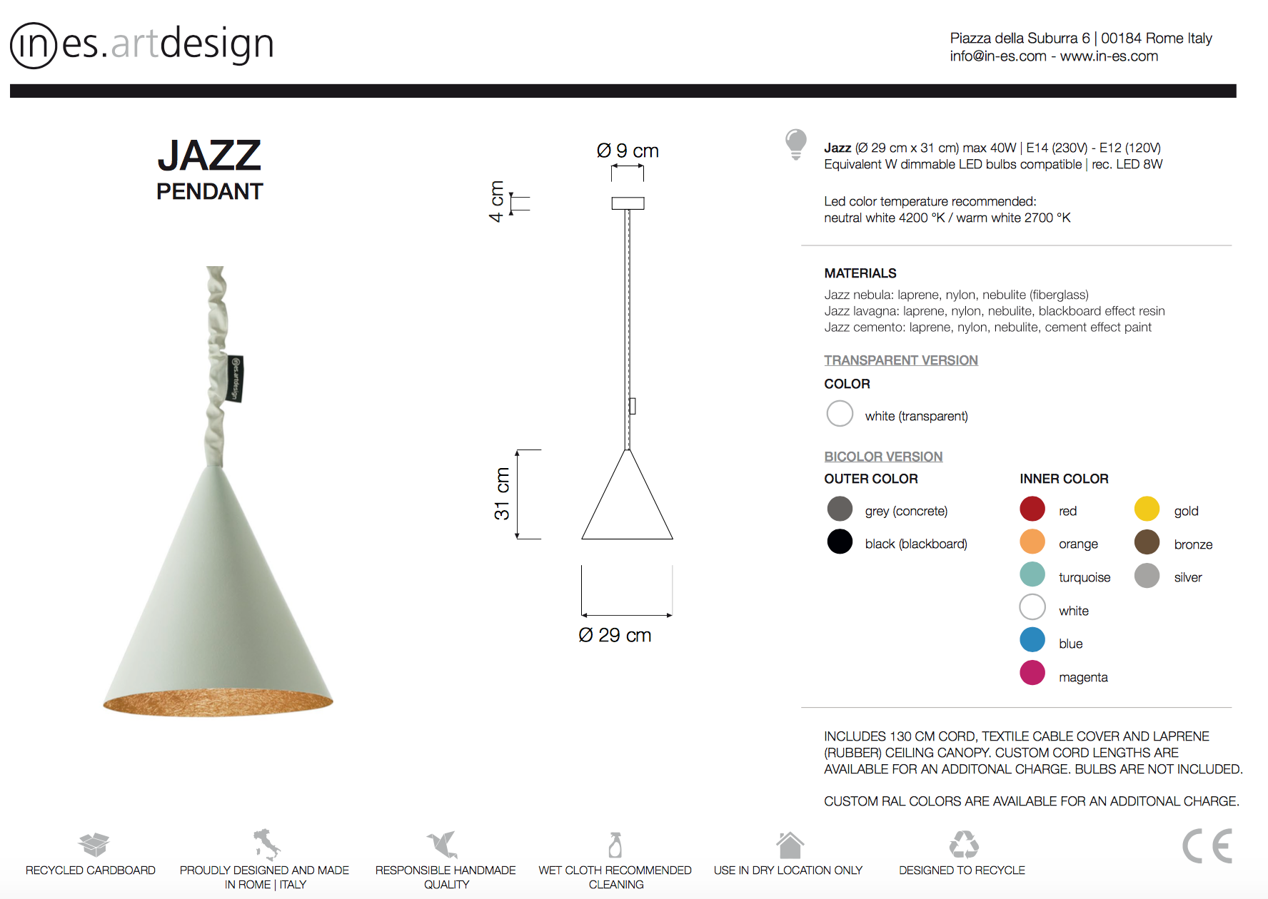 Jazz Cemento Pendant In Es Art Design