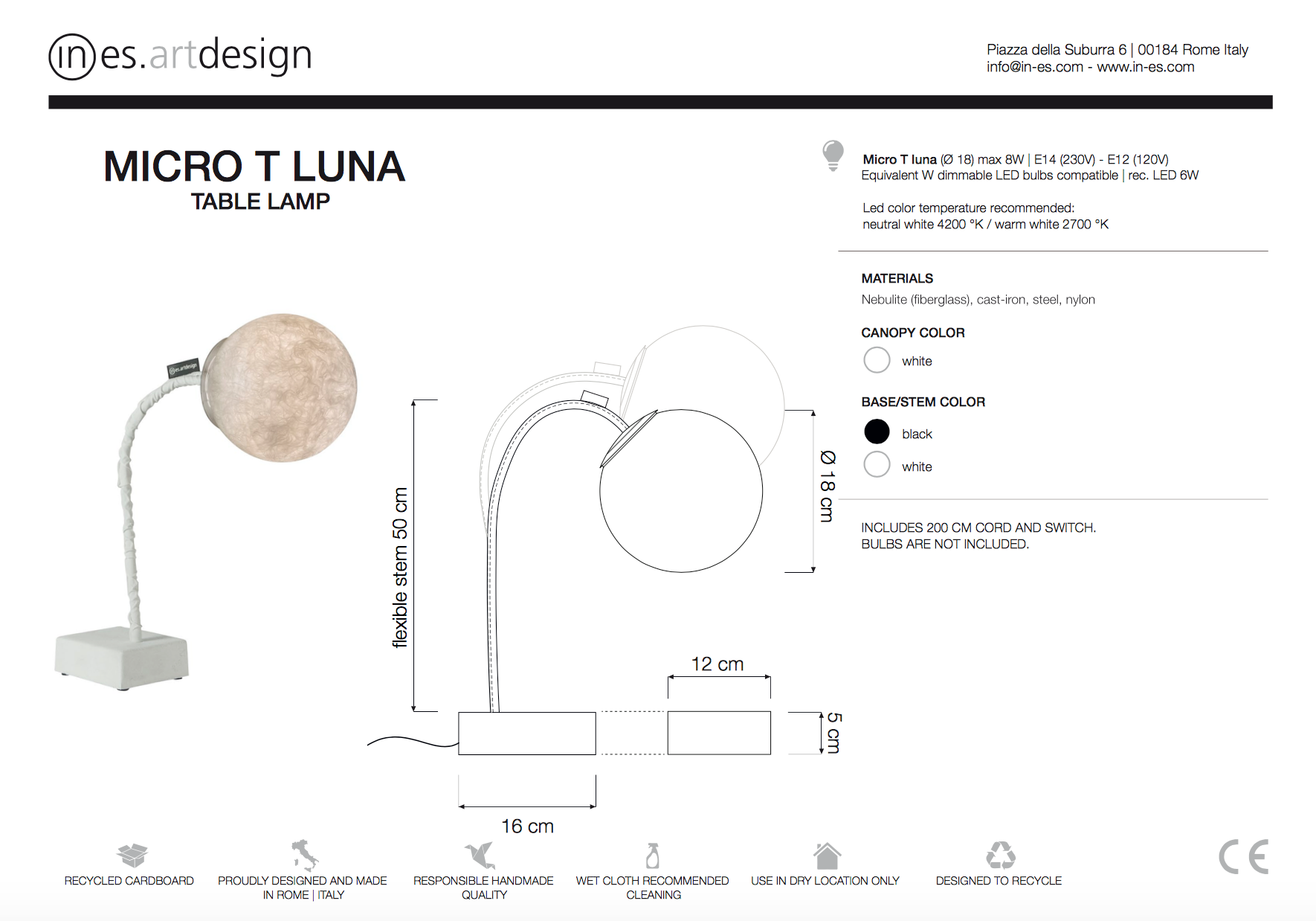 Micro T Luna Table Lamp In Es Art Design