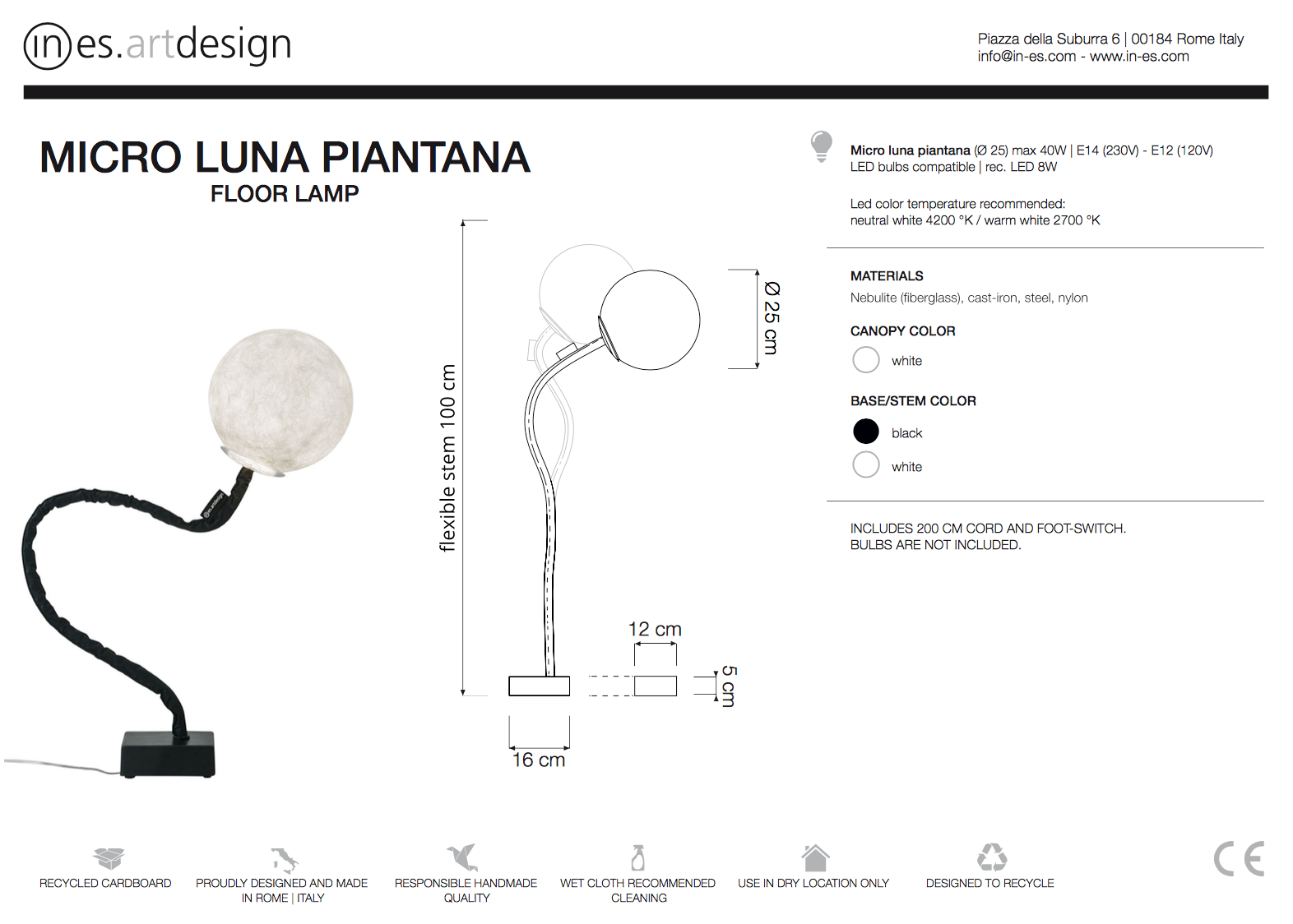 Micro Luna Piantana Floor Lamp In Es Art Design