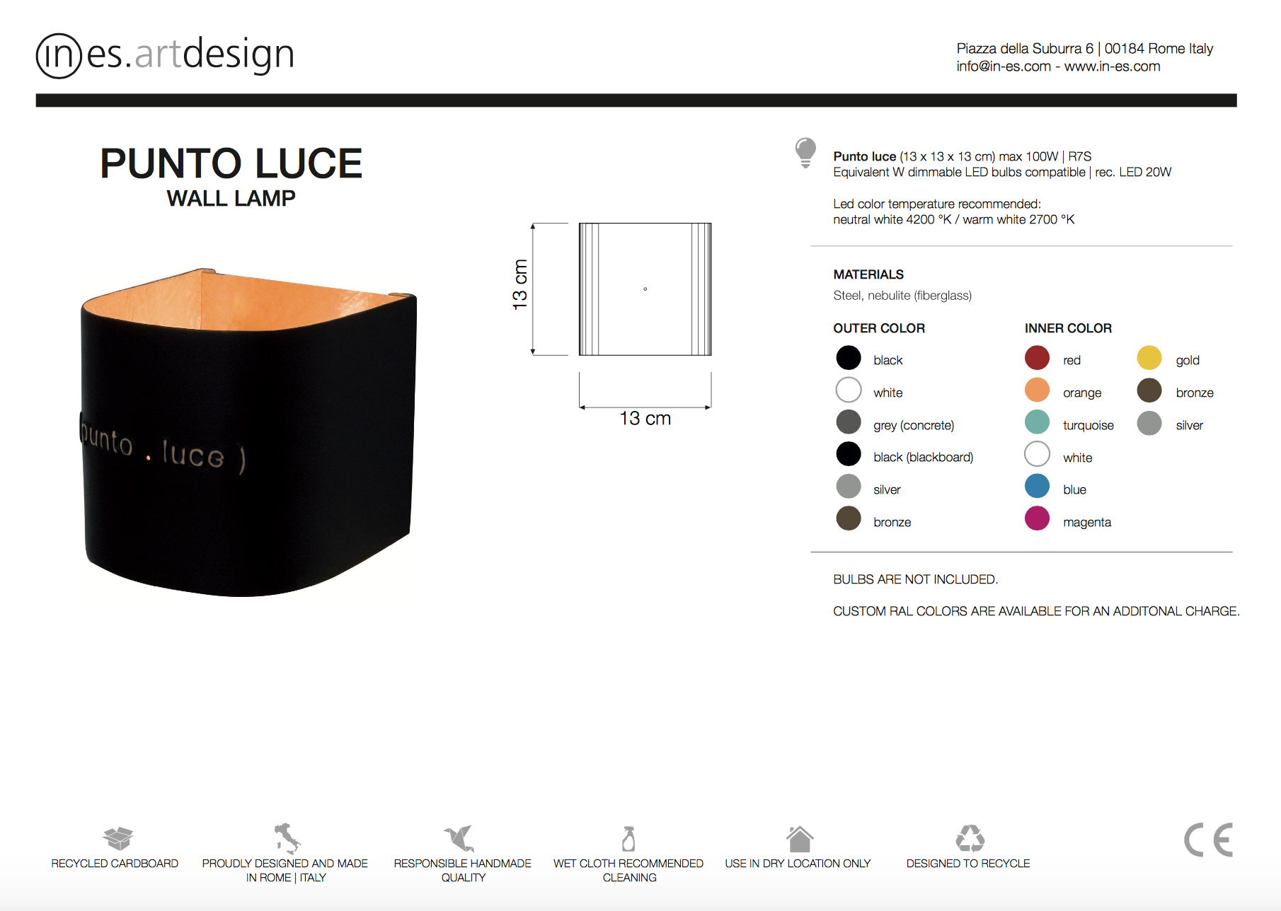 Punto Luce Wall Light In Es Art Design