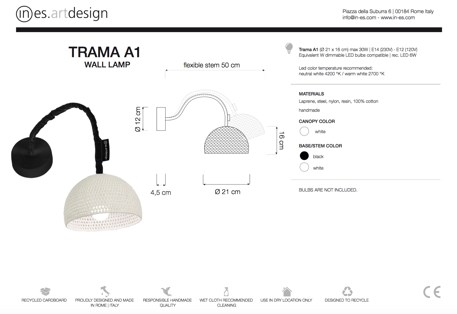 Trama A1 Wall Light In Es Art Design