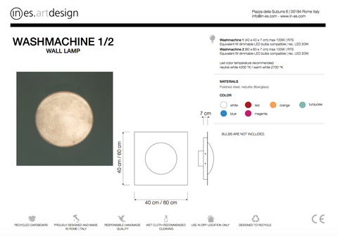 Washmachine Wall Light In Es Art Design