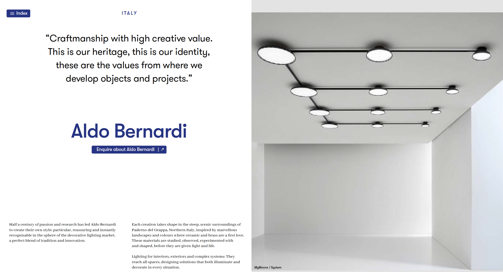 Aldo Bernardi UK Distributor Agent Dealer Lightingspiration