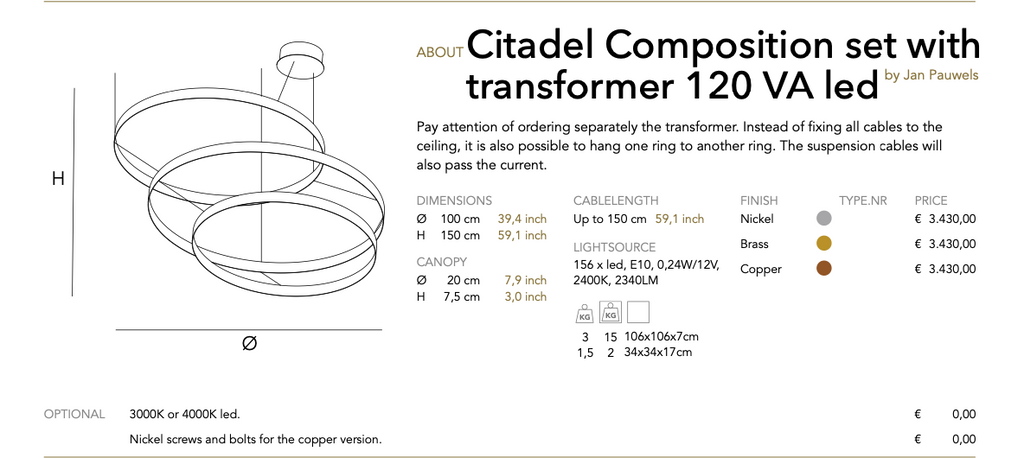 Citadel Composition set with transformer 120 VA led