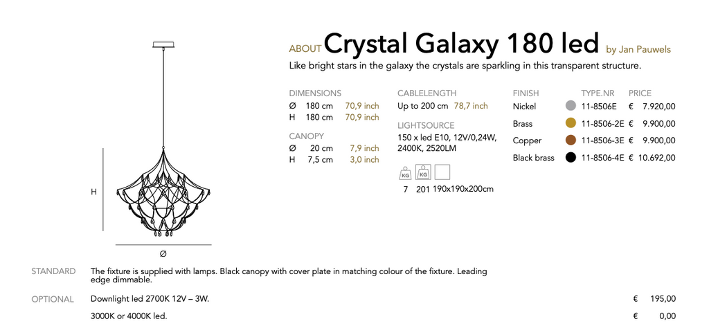 Crystal Galaxy led  pendant