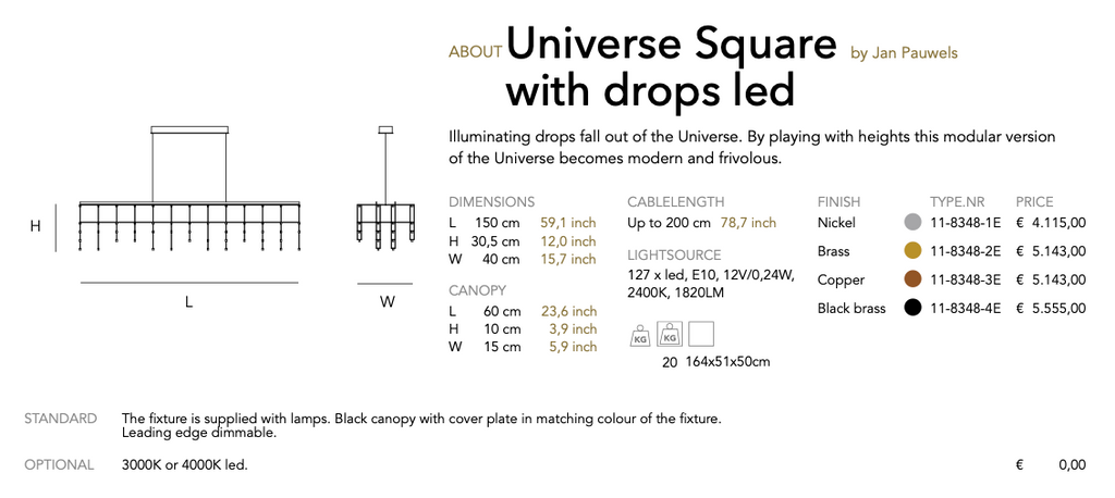 Universe Square with drops led