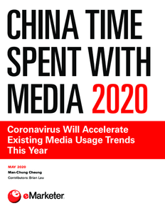 China Time Spent with Media 2020: Coronavirus Will Accelerate Existing Media Usage Trends This Year