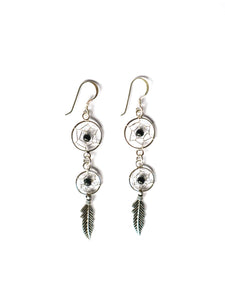 Mandala 2 Tier Drop Leaf Earrings Sterling Silver