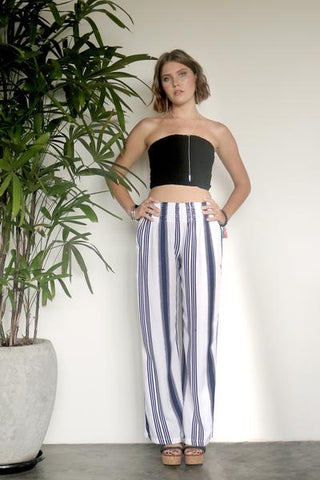 Nautical Pants - Navy White Stripe