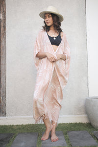 The Marakesh Kimono - Palms Blush