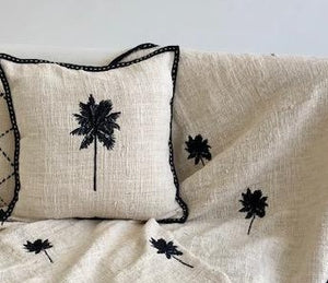 Palm Tree Embroidered Cushion - Black/Cream 50 x 50 cm