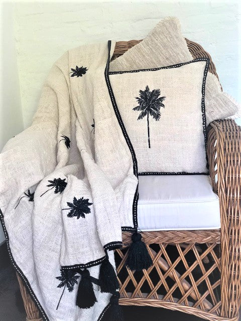Palm Tree Embroidered Throw  - Cream / Black