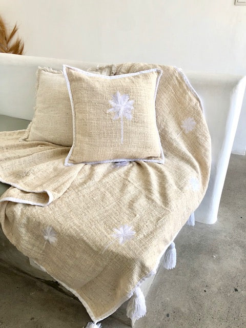 Palm Tree Embroidered Throw  - Cream / White