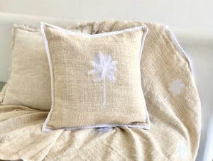 Palm Tree Embroidered Cushion - White/Cream 50 x 50 cm