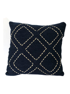 Tribal Black Textured & Embroidered Diamond Pattern Cushion 50 x 50 cm