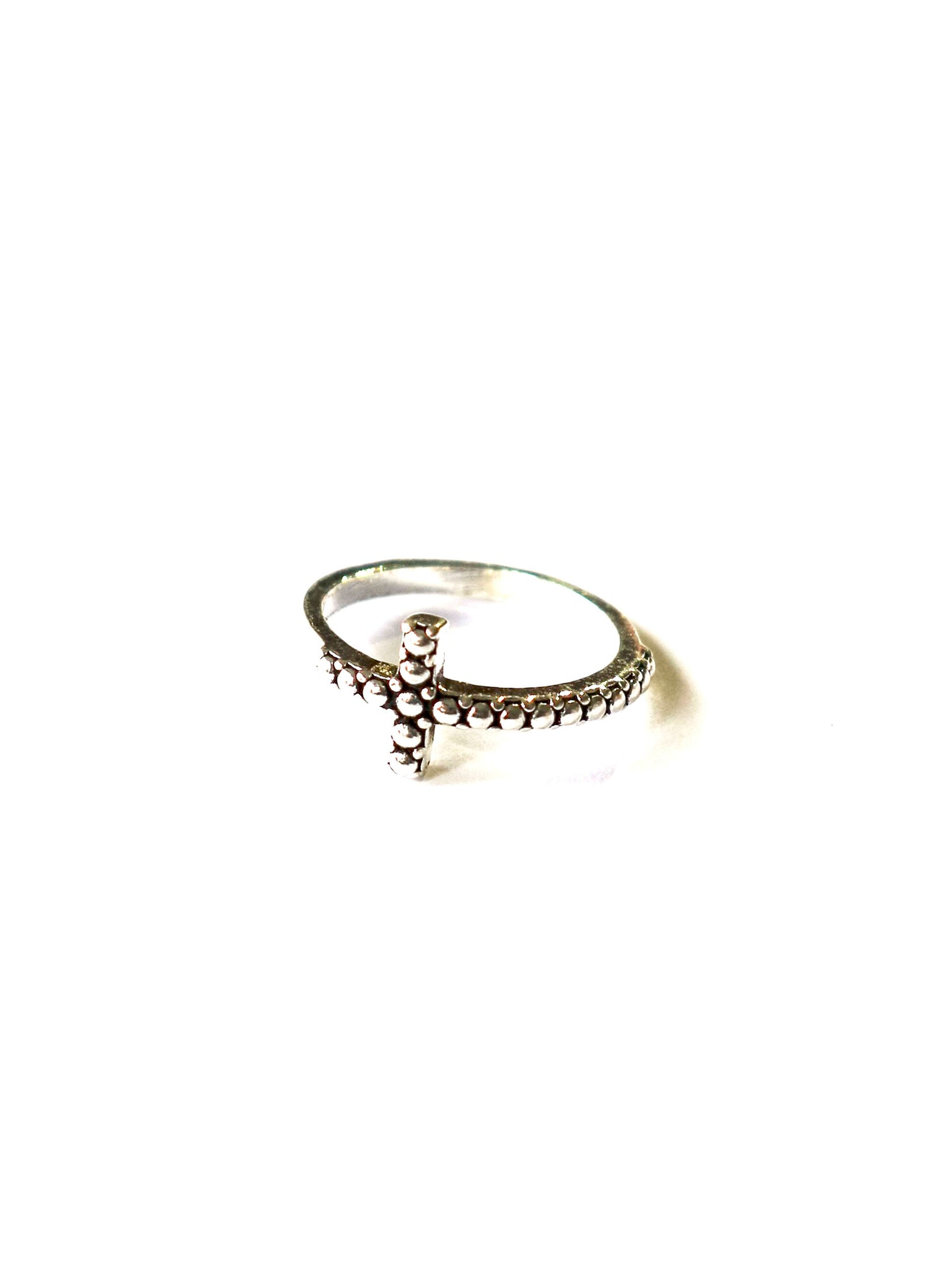 Sterling Silver Raised and  Embossed Bar Ring