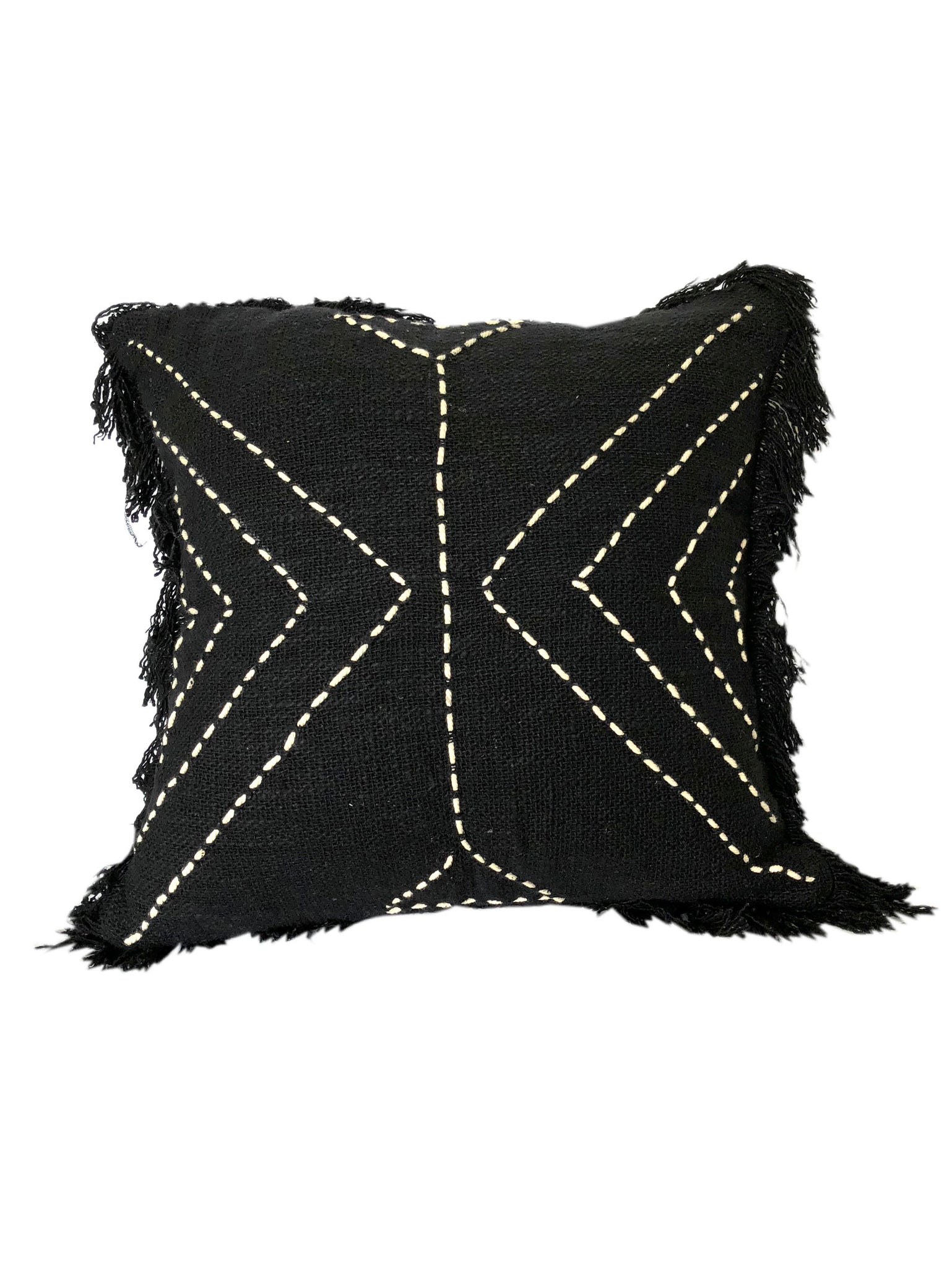 Tribal Black Textured & Embroidered w Fringe Cushion 50 x 50 cm