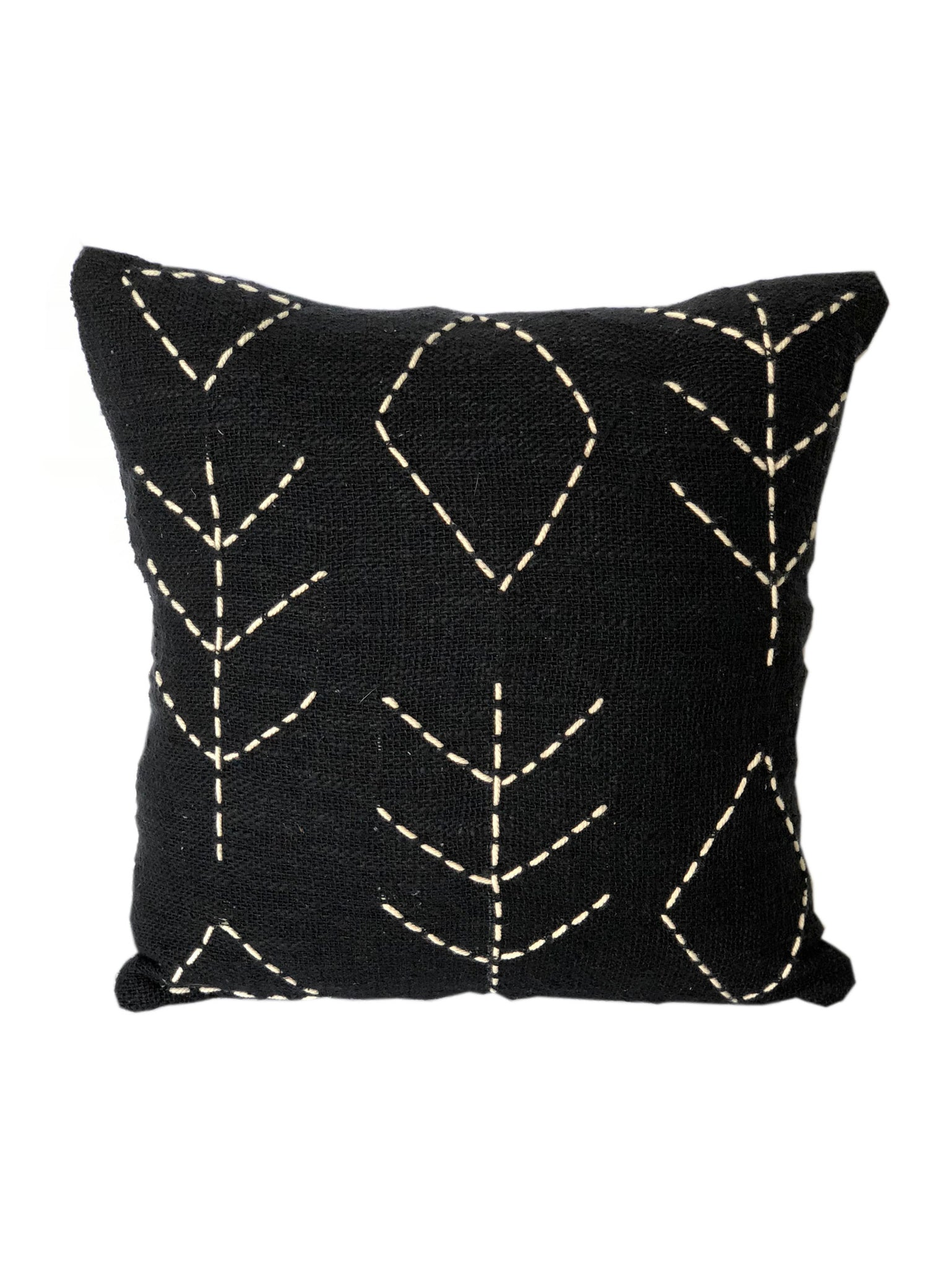 Tribal Black Textured & Embroidered Cushion 50 x 50 cm