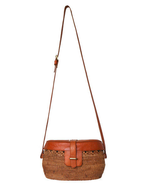 Cane - Leather  Cross Body Bucket Bag Natural - Tan
