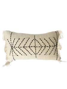 Tribal Cream Textured & Embroidered Arrow Pattern Cushion 50 x 35 cm