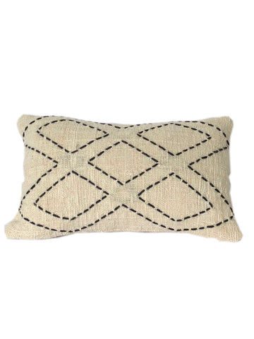 Tribal Cream Textured & Embroidered Diamond Cushion 50 x 35 cm