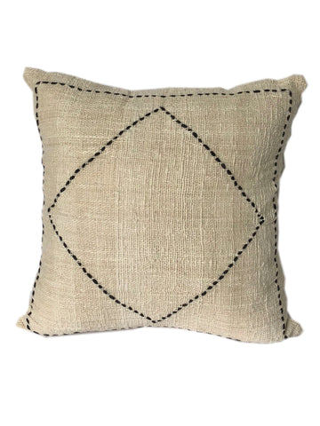 Tribal Cream Textured & Embroidered Placed Diamond Cushion 50 x 50 cm